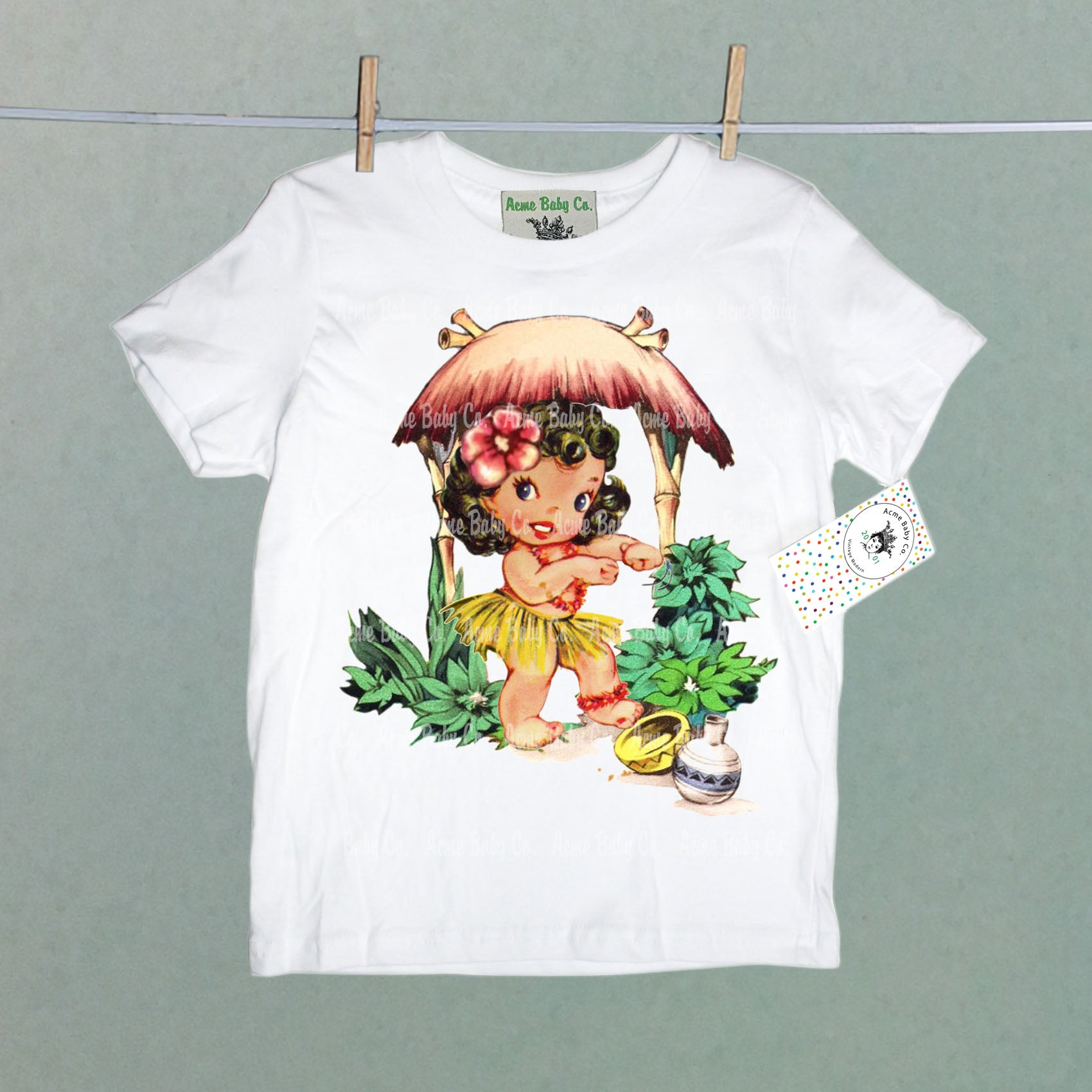 Organic Children's Shirt with Tiki Hula Girl