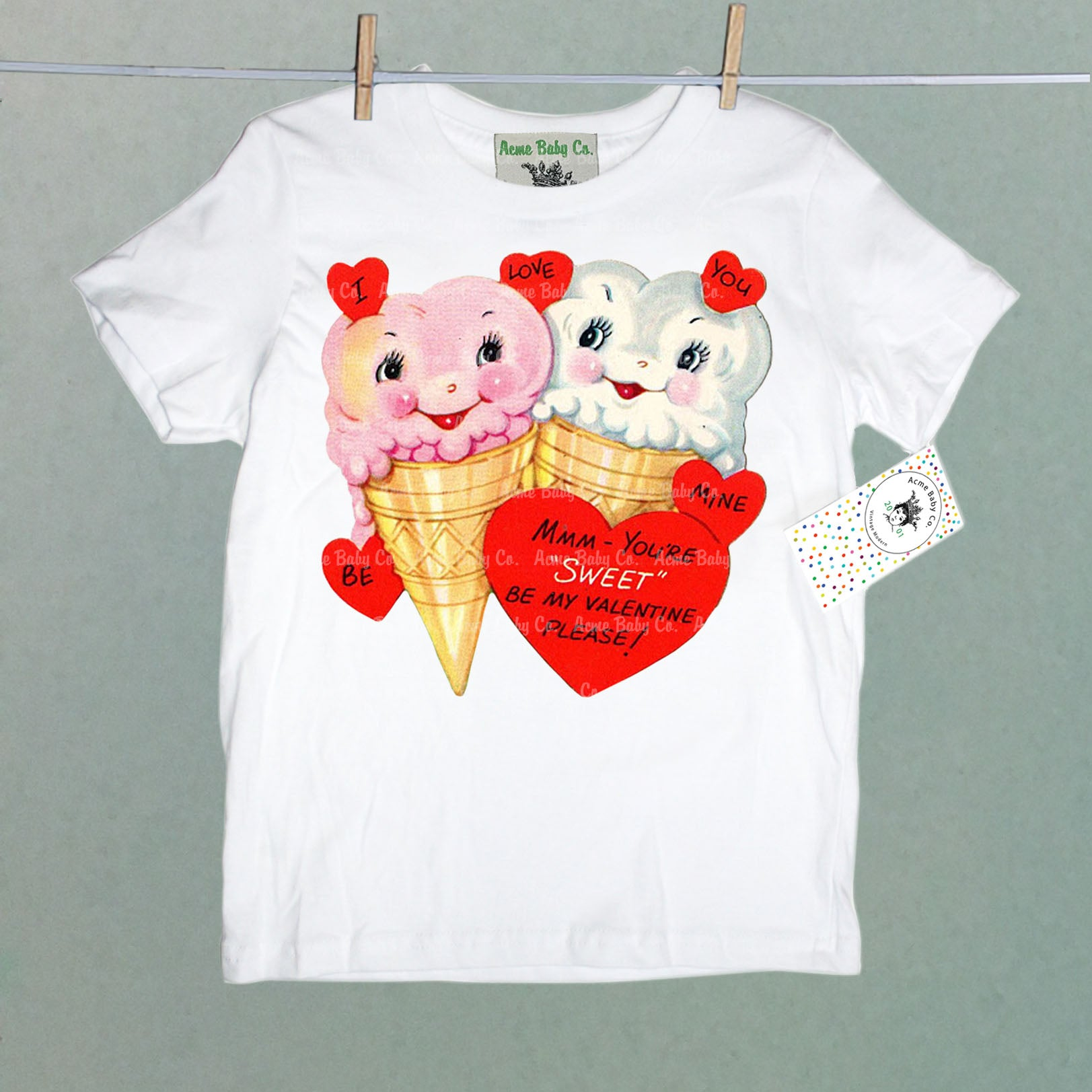 Retro Ice Cream Valentine Cuties Kid's Organic Shirt