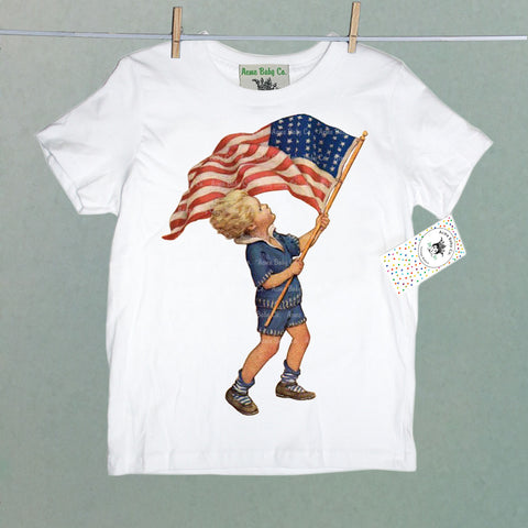Boy and American Flag Children's Shirt