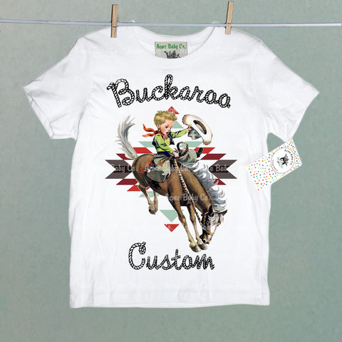 Custom Southwest Buckaroo Cowboy Organic Children's Shirt