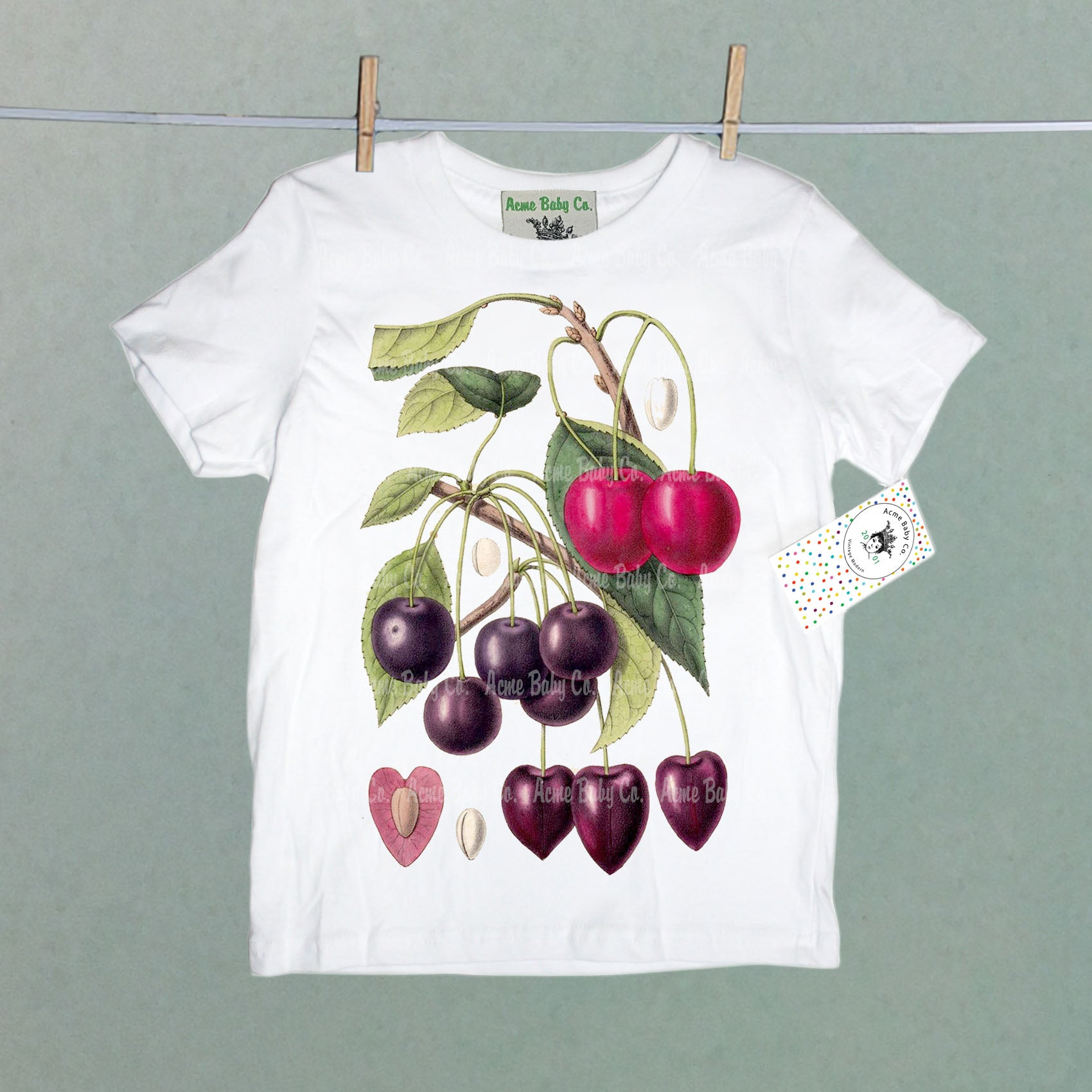 Cherries Botanical Illustration Organic Children's Shirt