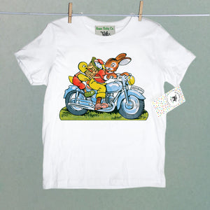Motorcycle Easter Bunny Organic Baby Children's Shirt
