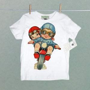 Vintage Kid's Organic Shirt with Motorcycle Cuties