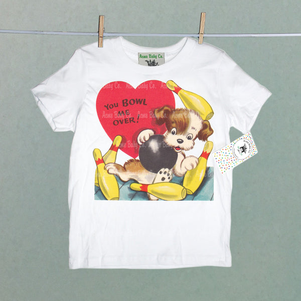 Vintage Kid's Organic Shirt with Bowling Puppy Dog