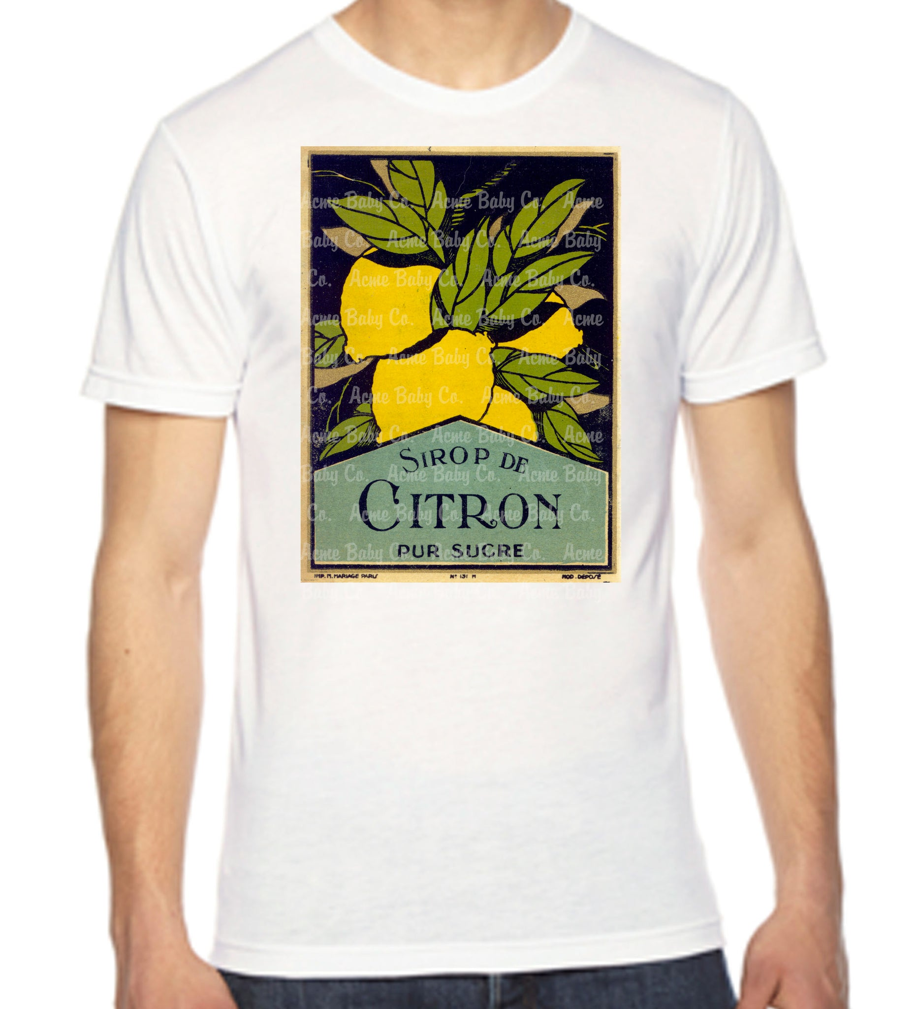 Citron French Lemon Label Unisex Men's Organic Shirt