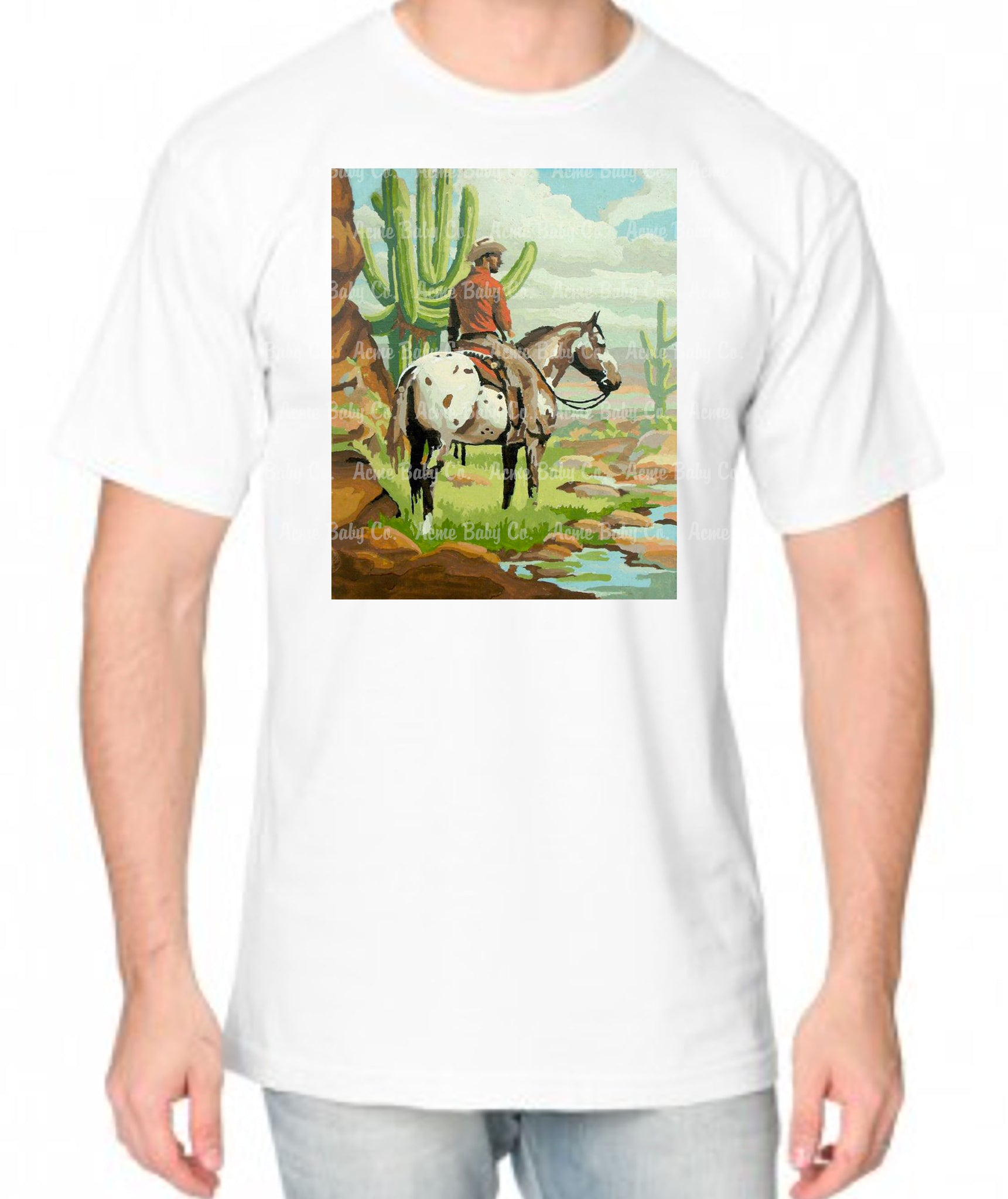 Paint By Numbers Western Cowboy and Horse Organic Men's Shirt