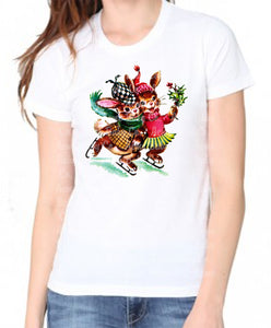 Ice Skating Christmas Bunnies Women's Organic Shirt