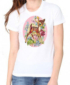 Deer with Flowers Women's Organic Tee Shirt
