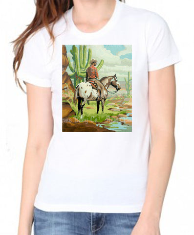 Paint By Numbers Western Cowboy and Horse Organic Women's Shirt