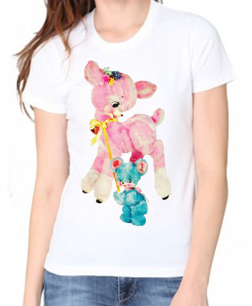 Pink Deer with Bear Friend Women's Organic Shirt