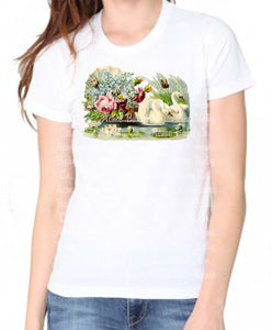 Swan with Flowers Women's Organic Shirt