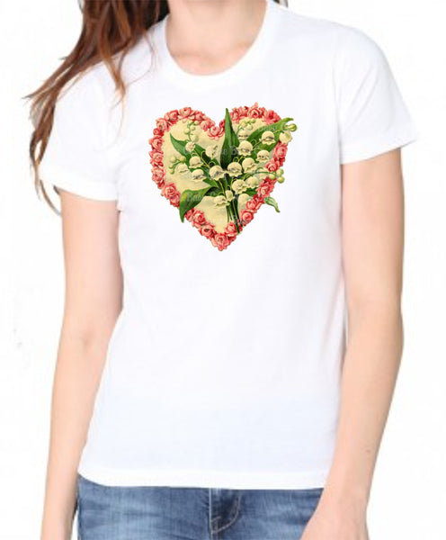 Lily of the Valley Heart Valentine Women's Organic Shirt