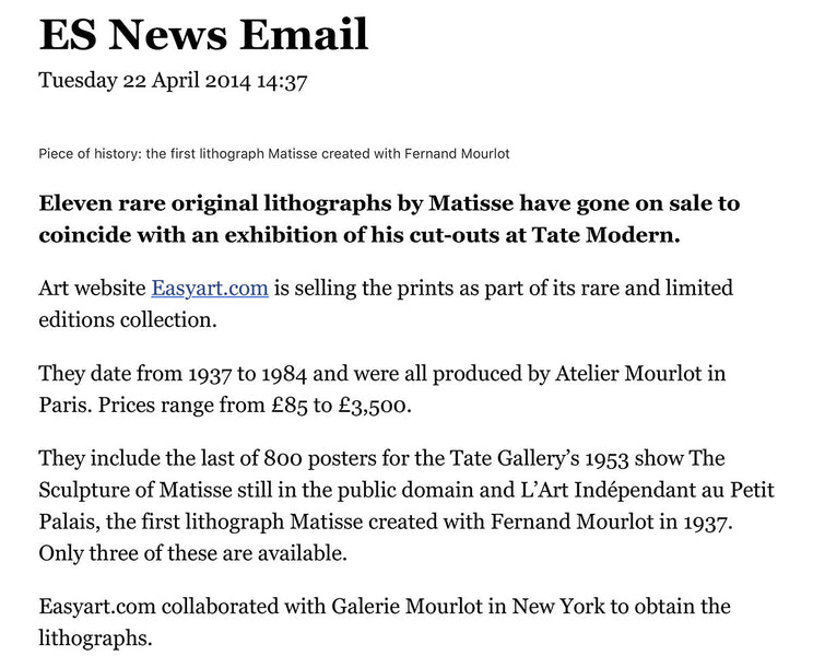 Pick up a Matisse for just £85 as rare lithographs go on sale at Tate Modern