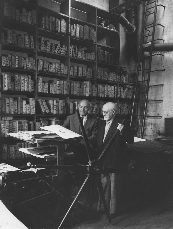 Fernand Mourlot and Henri Matisse at L'Atelier Mourlot in Paris.
