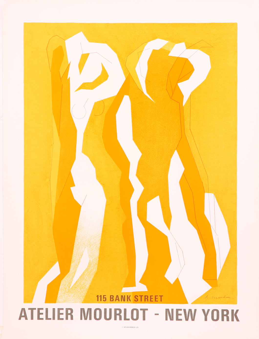 Mourlot poster of three gold dancing women Beaudin