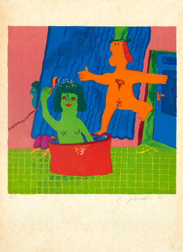 Green Woman, Orange Man in Tub by Alekos Fassianos 1977