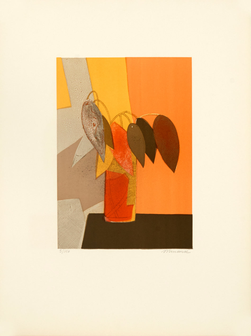 Untitled, (Orange vase with 8 leaves) by André Minaux 1970