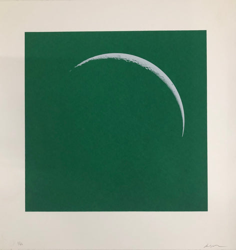 Moon Portraits - Crescent Moon - January 14, 2018 (Green) by Andy Gershon
