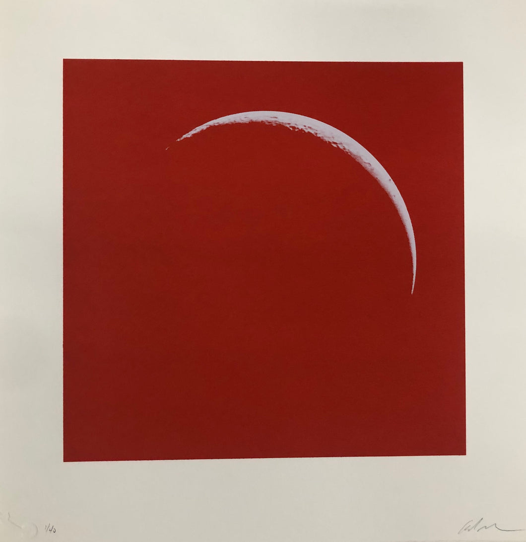 Moon Portraits - Crescent Moon - January 14, 2018 (Red) by Andy Gershon