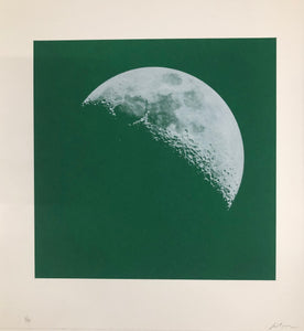 Moon Portraits - Half Moon - September 26, 2017 (Green) by Andy Gershon