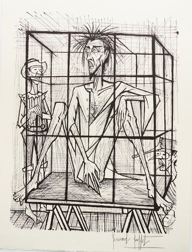 Don Quixote en Cage (B&W) by Bernard Buffet