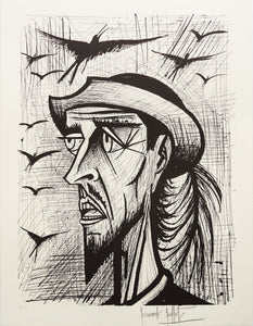 Don Quixote with Hat X (B&W) by Bernard Buffet