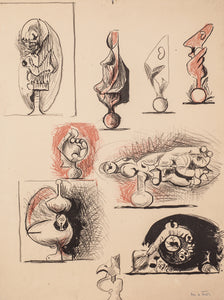 Sheet of Studies Organic Forms by Graham Sutherland
