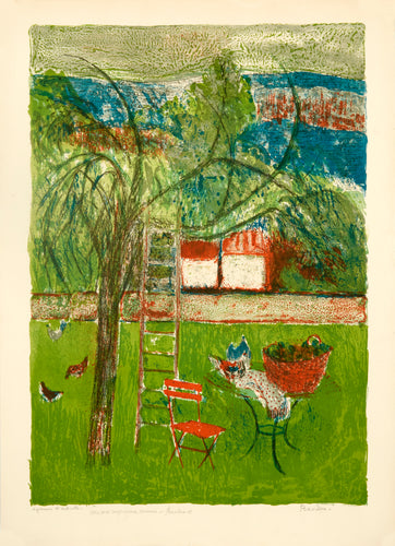 Backyard, Ladder Resting on Tree, Orange Chair by Guy Bardone 1967