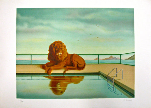 Lion Au Bord De La Piscine by Francoise Houssin 1988