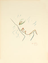 "Profil de Garçon en couleur - from the album ""Jean Cocteau Lithographies"" by Jean Cocteau 1957"