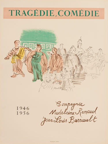 Tragedie, Comédie  jean-Louis Barrault, Madeleine Renaud - by Raoul Dufy, 1954-1956