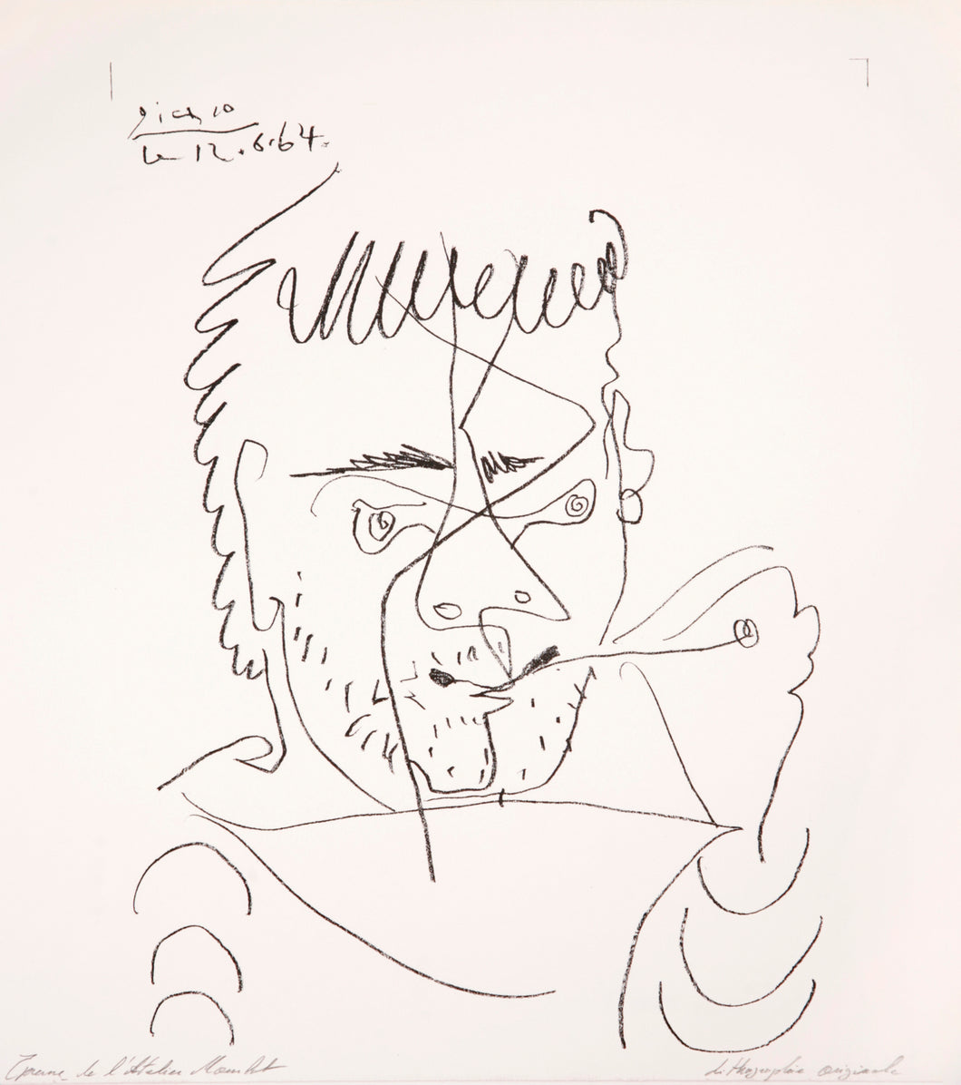 The Smoker, Daniel Henri Kahnweiler by Pablo Picasso 1964