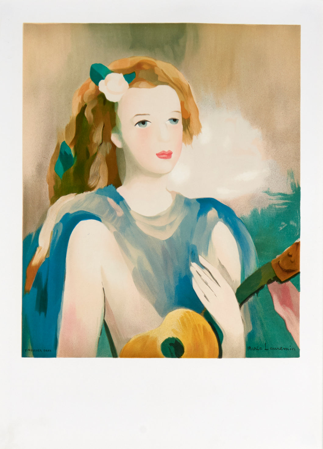 woman posing with a guitar by Marie Laurencin 1989