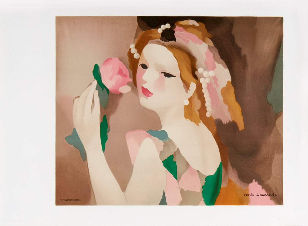 woman posing with a rose by Marie Laurencin 1987