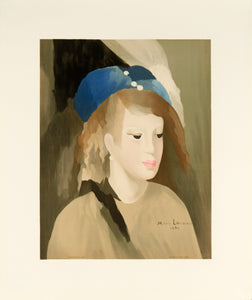 woman posing in a blue hat by Marie Laurencin 1989