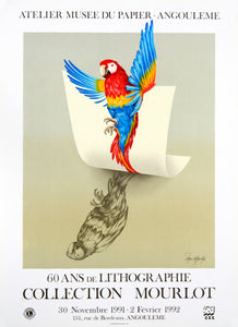 lithographic poster of parrot tribute to Atelier Mourlot Van Kache