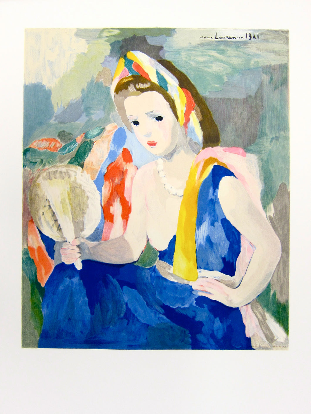Woman Holding White Fan by Marie Laurencin 1991