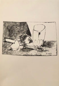 Apples, Glass and Knife by Pablo Picasso