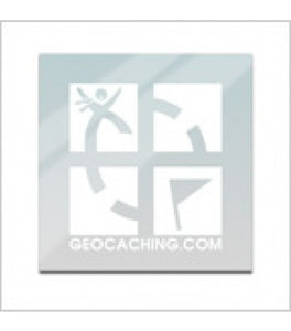 clear and white geocaching logo decal