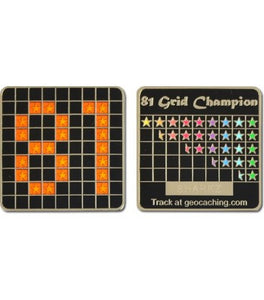 81 grid geocoin with trackable engraving