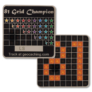 81 grid champion geocoin with trackable engraved area