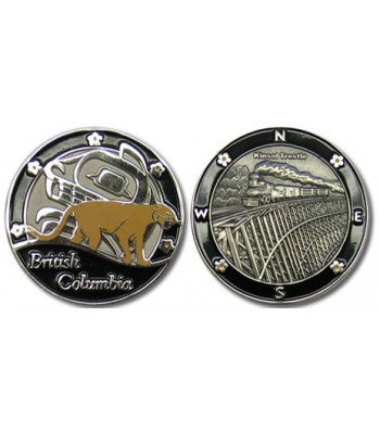 Picture of the front and back of the BC in Black coin.  The front has an image of a cougar over first nations art, with the words British Columbia at the bottom.  The back is a 3D antique silver picture of a train going across a trestle.  Both sides have black borders.