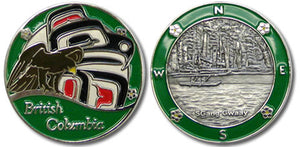 Both sides of BC in Green coin are pictured.  The first, an eagle in front of first nations art with British Columbia at the bottom and a green border.  The other shows a 3D silver image of a canoe in the water, also with a green border.