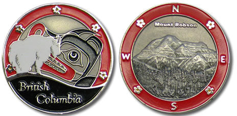 Both sides of the BC in Red coin are featured.  On one, there is a mountain goat with first nations art in the background surrounded by red, with British Columbia written at the bottom.  On the other side is an image of Mount Robson in antique silver with a red border.