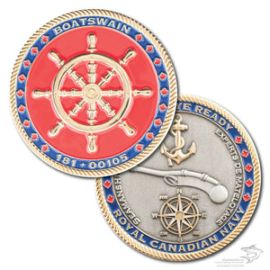 Picture of Boatswain coin, front and back. Front has a gold ships wheel with a red background, surrounded by a blue border that says Boatswain at the top and 181+00105 at the bottom and rope cut edge.  The back has a compass, a rifle and an anchor with a blue border that says Ready Aye Ready at the top and Royal Canadian Navy at the bottom and a rope edge