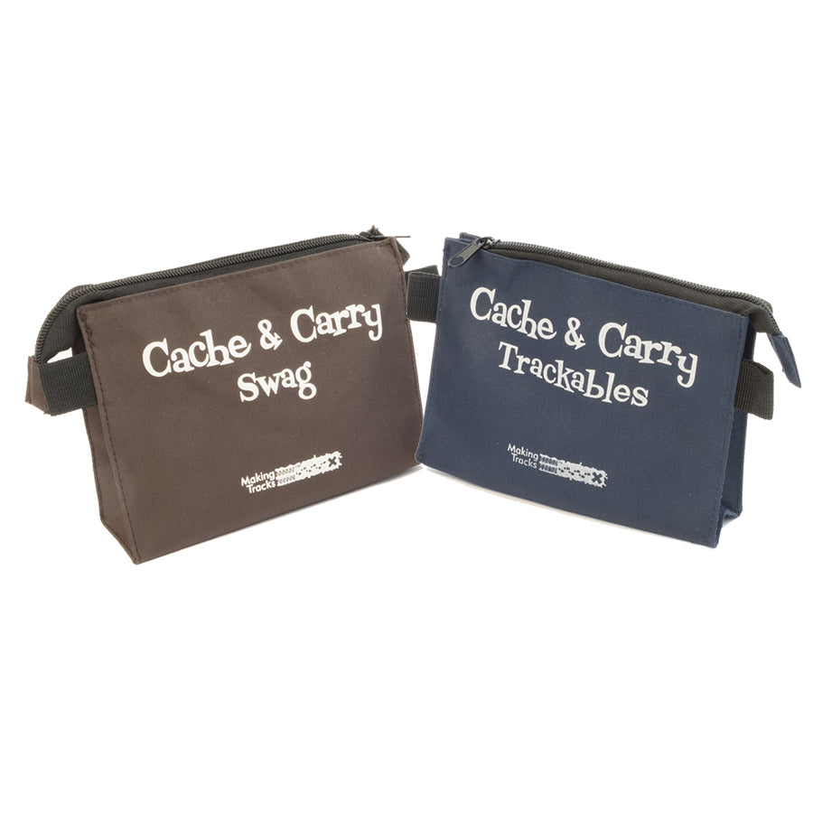 Brown cache and carry swag bag with a blue cache and carry trackables bag. Each bag has a top zipper and loops on each side to attach the carabiners