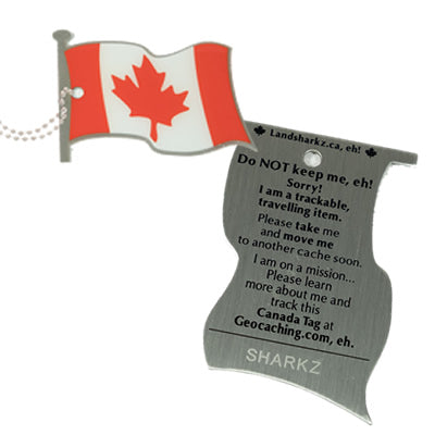 Both sides of the Canada Flag tag.  One is the Canadian Flag waving.  The other has writing asking the finder not to keep it, as well as space for a trackable code.