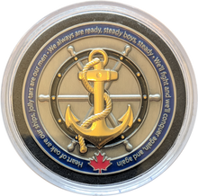 Navy coin displayed in an acrylic case