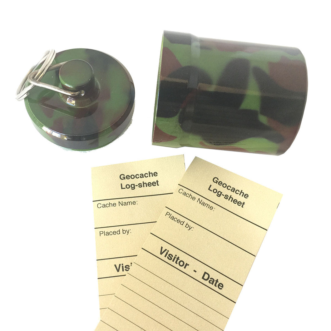 Camo Ginormous Micro geocache with log-sheets