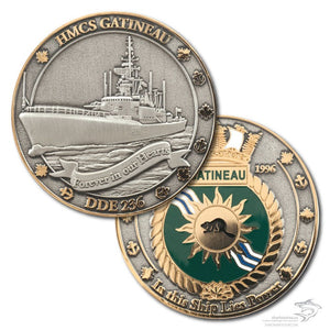Both sides of the HMCS Gatineau coin pictured.  The front has the ship pictured in 3D antique silver with polished gold anchors and maple leaves around the border.  On the back is the ship's crest in polished gold.